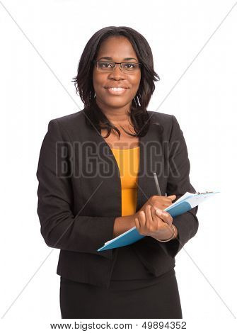 Young African American Businesswoman Holding Folders on Isolated White Background