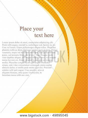 Vector document page template background with abstract orange wave and white place for text or photo