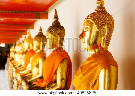 Golden Buddha in a row