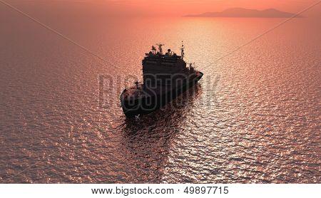 Icebreaker ship in the sea.