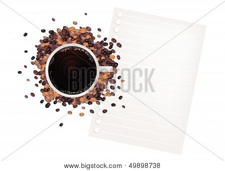 Coffee And Bean With A Blank Paper