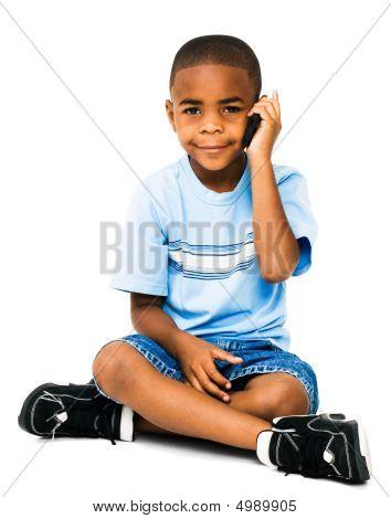 Smiling Boy Talking On Mobile