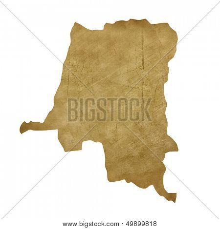 Zaire grunge map in treasure style isolated on white background.