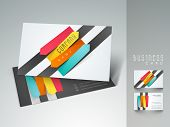 stock photo of visitation  - Stylish professional and designer business card set or visiting card set with colorful stripes - JPG