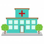 image of suburban city  - Bright and Colorful Vector Hospital or Medical Facility - JPG