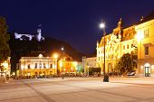 Main Square City Of Slovenia And Church Of The Holy Trinity, Ljubljana, Europe -