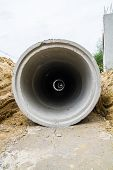 Concrete drainage pipe at construction site
