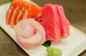 Sashimi Set Of Fresh Salmon And Tuna Raw Fish