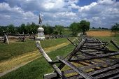 stock photo of battlefield  - Rail fences along the Sunken Road at the Antietam National Battlefield American Civil WarMaryland - JPG