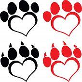 image of animal footprint  - Red Love Paw Print With Claws Cartoon Character  Set Collection - JPG