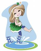 picture of dancing rain  - little girl in rubber boots holding a toad on her hands and goes through puddles under the 