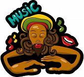 stock photo of rastaman  - This is vector graffitti illustration with rastaman - JPG