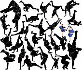 pic of break-dance  - collection breakdance silhouette break dance  illustration teenager - JPG