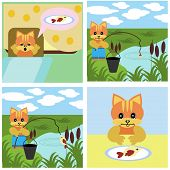 picture of short-story  - comics short story about ginger cat vector illustration - JPG