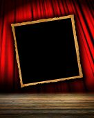 stock photo of irs  - Movie or theatre curtain with a piture on ir - JPG
