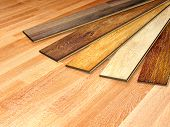 stock photo of woodgrain  - New oak parquet of different colors - JPG