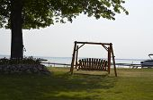 Swing overlooking the lake