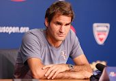 Seventeen times Grand Slam champion Roger Federer during press conference