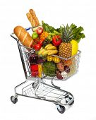 foto of grocery cart  - Full shopping grocery cart - JPG