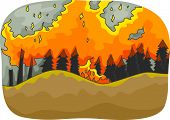 Illustration Featuring a Long Stretch of Trees Burning from the Distance