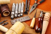 image of leather tool  - Homemade leather craft tool and accessories - JPG