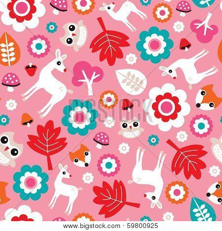 Seamless girl baby nursery woodland illustration background pattern in vector