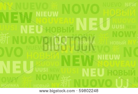 Green Seamless Background Paper With New In Different Language