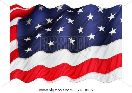 Waving American Flag Isolated On White Background