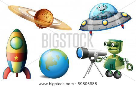 Illustration of the spaceships and robots on a white background