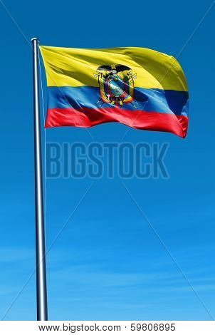 Ecuador flag waving on the wind