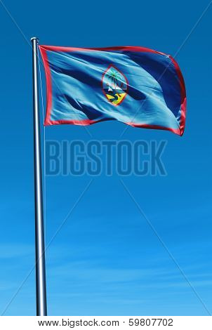Guam flag waving on the wind