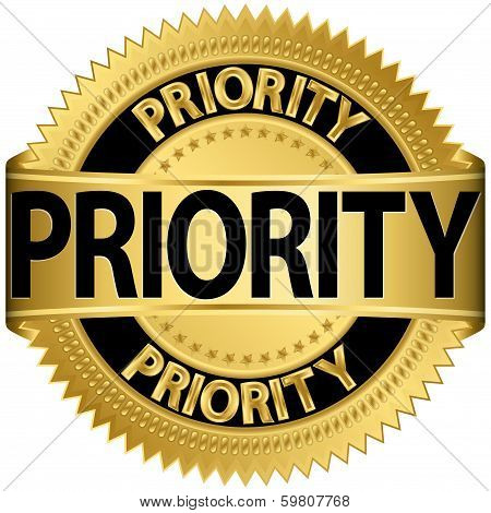 Priority gold label, vector illustration
