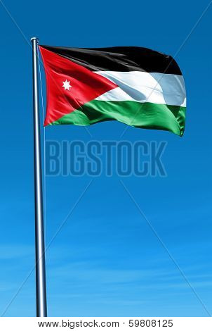 Jordan flag waving on the wind