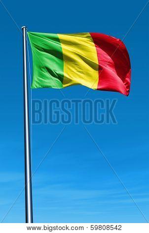 Mali flag waving on the wind