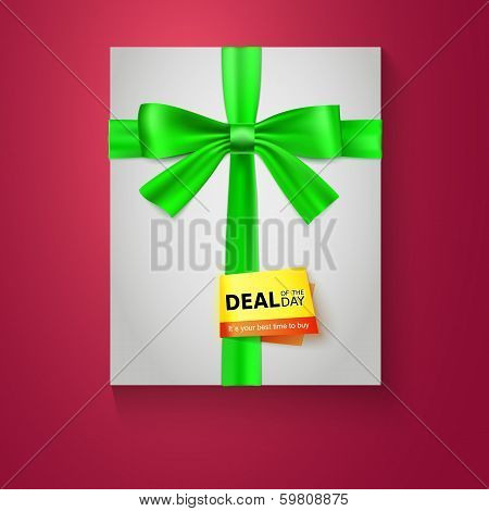 Gift box with green bow on red background. Deal of the day. Vector illustration eps 10.