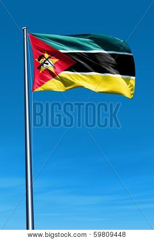 Mozambique flag waving on the wind