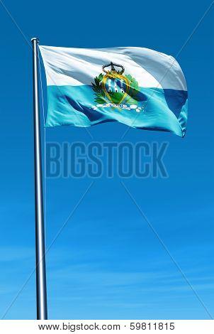 San Marino flag waving on the wind