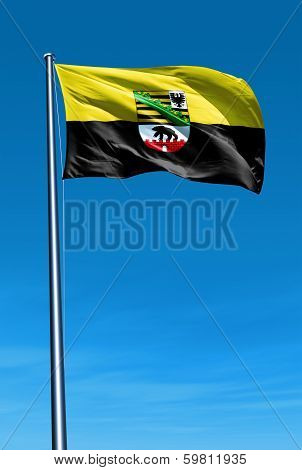 Saxony-Anhalt (GER) flag waving on the wind