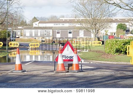 Road with floodwater, Basingstoke
