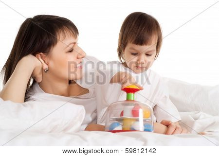 Girl with her mama