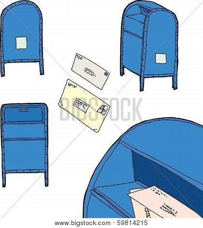 Isolated Mailbox Cartoon