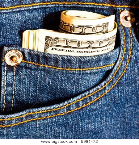 Jeans Pocket With Many One Hundred Dollar Banknotes