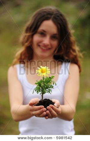 Woman Planting A Flower