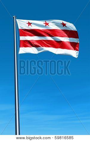 Washington D. C. flag waving on the wind