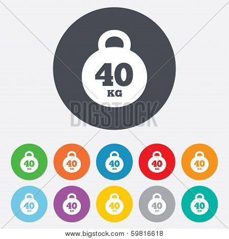 Weight sign icon. 40 kilogram (kg). Sport symbol