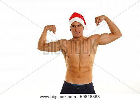 Sexy Santa Claus poses