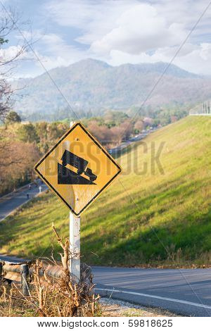 Steep Road Traffic Sign In Yellow And Black