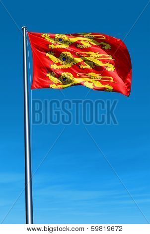 Haute Normandie (France) flag waving on the wind