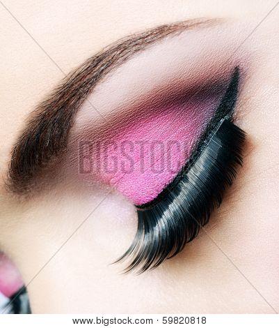 Beautiful pink makeup close up
