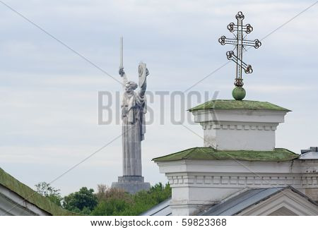 Motherland Monument And Cross Of Kievo-pecherskaya Church